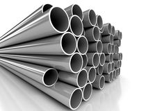 Metal tubes over white background. 3d computer generated image Stock Photography