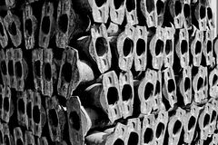 Metal tubes stack piled together scaffolding ledger members. In black and white mono monochromatic photography and this image is dynamic in light and shadows Stock Photo