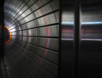 Metal tunnel with lights Royalty Free Stock Images