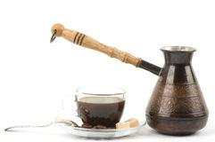 Metal turk and coffee cup Stock Photography