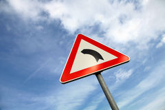 Metal turn road sign Royalty Free Stock Photos