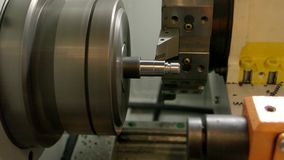 Metal turning lathe in action. Production of steel detail. Precision of cnc machine stock video
