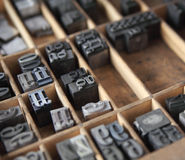 Metal type in a case. Letterpress lead type in a wood type case royalty free stock image