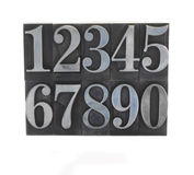 Metal type numbers 1. Old, inkstained numbers in letterpress lead type Stock Photos