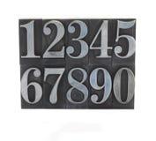 Metal type numbers 1 Stock Photos