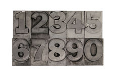 Metal type numbers 2 Royalty Free Stock Photos