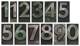 Metal type numbers Stock Photo