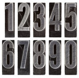 Metal type numbers isolated Stock Images