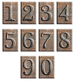 Metal type numbers isolated Royalty Free Stock Images