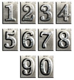 Metal type numbers isolated Stock Photo