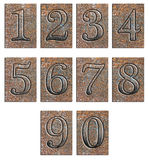 Metal type numbers isolated Royalty Free Stock Photos