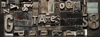 Metal Type Printing Press Typeset Obsolete Typography Text Taxes. Old printing press typeset spells TAXES royalty free stock photography