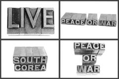 Metal type text live, peace or war, south corea Royalty Free Stock Photography