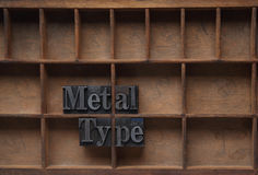 Metal type in a wood case. The words metal type in lead on an old case with a printer's reference numbers royalty free stock images