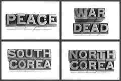 Metal type words peace, war, dead, south corea, Royalty Free Stock Photo