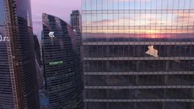Movie style footage of business center. Modern architecture. Moscow city Russia from above. Downtown. Glass reflections, concrete. Metal. Unique Aerial drone stock video