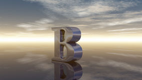 Metal uppercase letter b under cloudy sky Stock Images