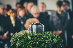 Free Metal Urn At A Funeral Stock Image - 184650521