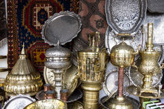 Metal utensil stamping on Moroccan market, Casablanca Stock Image