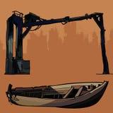 Metal velho do projeto industrial e barco de madeira quebrado Imagem de Stock