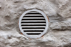 Ventilation window on wall. Metal ventilation window on wall background Royalty Free Stock Photo