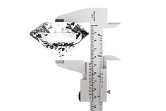 Metal Vernier Caliper with Diamond Royalty Free Stock Photo
