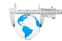 Metal Vernier Caliper with Earth Globe Royalty Free Stock Photography