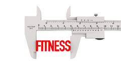 Metal Vernier Caliper with Fitness Sign Stock Photos