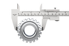 Metal Vernier Caliper with Gear Wheel Royalty Free Stock Image