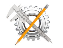 Metal Vernier Caliper with Pencil and Gear Wheel Stock Photo