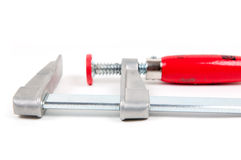 Metal vice with red handle Royalty Free Stock Images