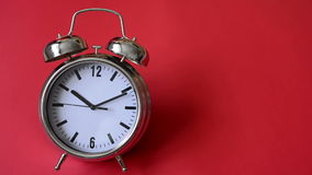 Metal vintage alarm clock counting stock footage