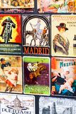 Metal vintage posters souvenirs for tourists on the streets of the city. MADRID, SPAIN - 27 MARCH, 2018: Metal vintage posters souvenirs for tourists on the Stock Photos