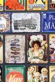 Metal vintage posters souvenirs for tourists on the streets of the city. MADRID, SPAIN - 27 MARCH, 2018: Metal vintage posters souvenirs for tourists on the Royalty Free Stock Photography