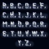 Metal vintage volumetric 3d chrome letters Stock Image