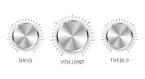 Metal volume treble bass knobs Royalty Free Stock Images