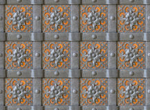 Metal wall 100% seamless. Metal wall with forged flowers - 100% seamless Stock Photography