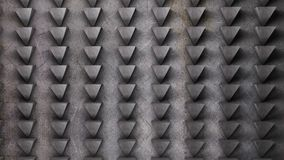 Metal wall abstract pattern of triangles 3D render illustration stock photography