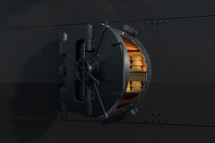 Metal wall with an open vault and some gold bullions inside Royalty Free Stock Photography