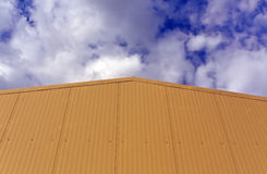 Metal warehouse building wall. Stock Photo