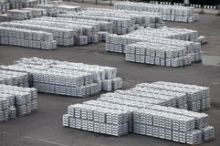 Metal warehouse ingots Royalty Free Stock Images