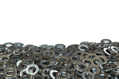 Metal Washers Close Up on a White Background Stock Image