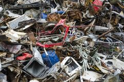 Metal waste pieces ready to be recycled Royalty Free Stock Images