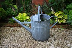 Metal watering can Stock Photo