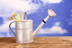 Metal watering can against a blue sky with clouds Stock Photography