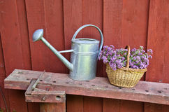 Metal watering can and wicker basket by the wooden wall Royalty Free Stock Photography