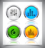 Metal web buttons. Vector eps10. Royalty Free Stock Photo