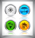 Metal web buttons. Vector eps10. Stock Photo