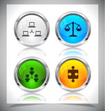 Metal web buttons. Vector eps10. Cool color shiny metal web buttons. Vector illustration Royalty Free Stock Image