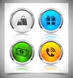 Metal web buttons. Vector eps10. Stock Image
